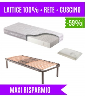 Kit materasso lattice+rete a doghe+cuscino