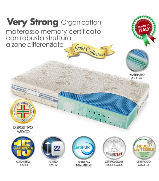 Materassi Memory Foam Con Gel Rinfrescante.Materasso Verystrong Memory
