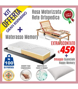 Kit Rete Rosa Motore + Materasso Energy Bed 3 80x190