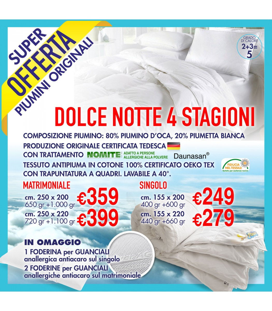 buy popular b6b49 a56f0 Piumino Dolce Notte 4 Stagioni